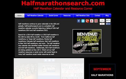 Screenshot of Home Page halfmarathonsearch.com - Half Marathon Calendar - Half Marathons 2014 and Half Marathons 2015 - captured Oct. 1, 2014