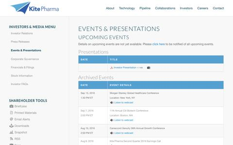Kite Pharma, Inc. | Events & Presentations