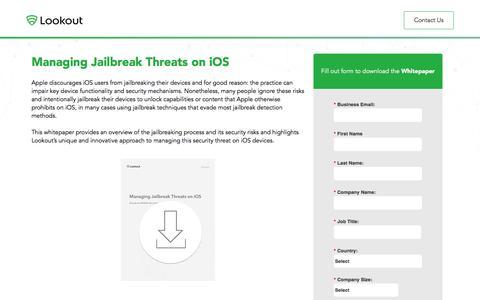 Screenshot of Landing Page lookout.com - Managing Jailbreak Threats on iOS | Lookout Inc - captured Aug. 18, 2016