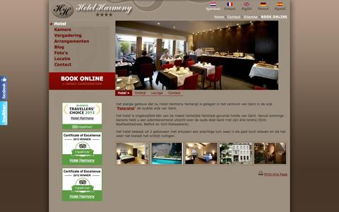 Screenshot of Home Page hotel-harmony.be - Hotel Harmony Gent - hotel - Vier sterren hotel in het historisch centrum van Gent hotel - captured Sept. 30, 2014