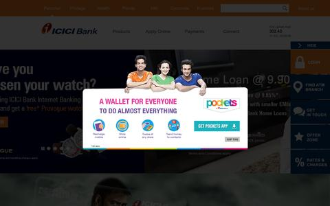 Screenshot of Home Page icicibank.com - Personal Banking, Online Banking Services - ICICI Bank - captured Aug. 2, 2015