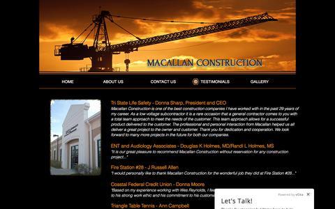 Screenshot of Testimonials Page mc1.biz - General Contractor | Raleigh | Macallan Construction | TESTIMONIALS - captured Oct. 3, 2017