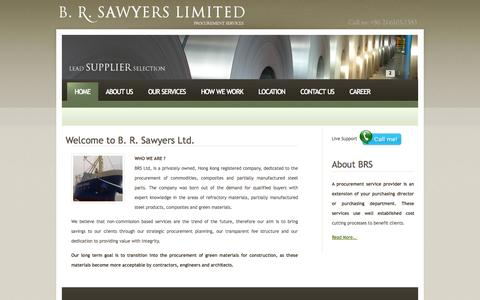 Screenshot of Home Page brsawyers.com - :: B.R.SAWYERS LMITED :: - captured Oct. 2, 2014