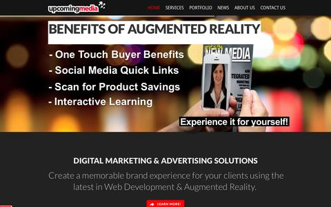 Screenshot of Home Page upcomingmedia.com - Augmented Reality Marketing & Advertising in Toronto - Upcoming Media - captured Oct. 7, 2014