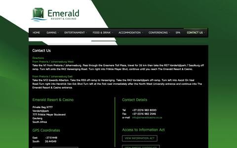 Screenshot of Maps & Directions Page emeraldcasino.co.za - Contact Details - captured Oct. 2, 2014