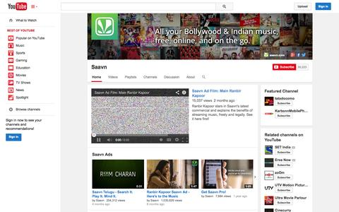 Screenshot of YouTube Page youtube.com - Saavn  - YouTube - captured Oct. 22, 2014