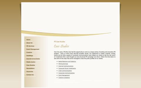 Screenshot of Case Studies Page prworx.co.za - PR Case Studies - captured Sept. 26, 2014