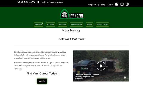 Screenshot of Jobs Page ringlawncare.com - Lawn Care Careers | Ring Lawn Care Employment - captured Sept. 21, 2018