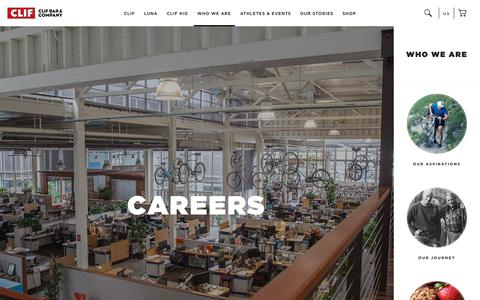 Screenshot of Jobs Page clifbar.com - CLIF: Careers - captured July 12, 2018