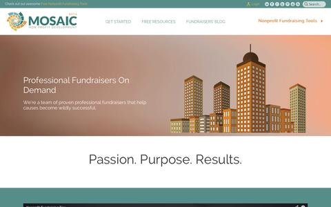 Screenshot of About Page mosaicnpd.com - Professional Fundraisers on Demand - captured Nov. 5, 2014