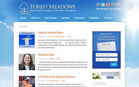 Screenshot of Blog forestmeadowsfh.com - Blog : Forest Meadows Funeral Home - captured Oct. 6, 2014