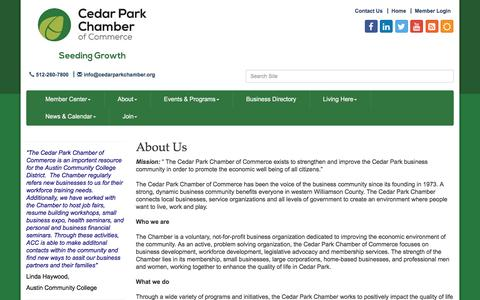 Screenshot of About Page cedarparkchamber.org - About Us - Cedar Park Chamber of Commerce, TX - captured Oct. 28, 2016