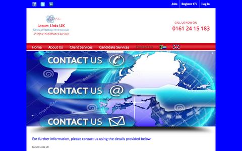 Screenshot of Contact Page locumlinksuk.com - Locum Links UK   –  Contact Us - captured Oct. 28, 2014