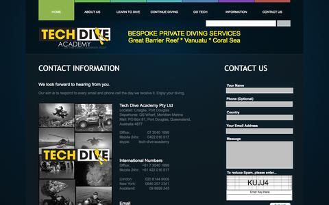 Screenshot of Contact Page tech-dive-academy.com - Contact Us - Tech Dive Academy - Bespoke Scuba Diver Training - Port Douglas - captured Oct. 7, 2014