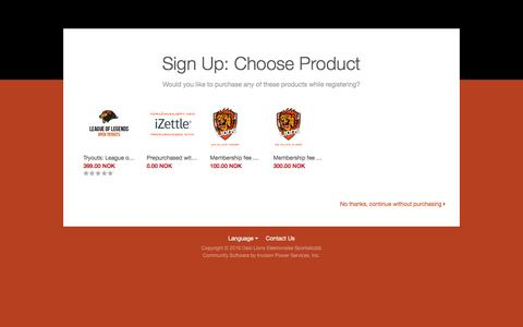 Screenshot of Signup Page lionsek.no - Sign Up - Oslo Lions Elektroniske Sportsklubb - captured Dec. 26, 2016