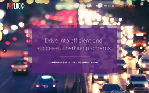 Screenshot of Home Page paylock.com - Parking Solutions | Parking Management Systems | PayLock - captured Sept. 27, 2018