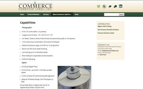 Screenshot of Products Page commercelabel.com - Flexographic Label Printing, Digital Inkjet Labels, UL Approved Labels - captured Oct. 2, 2014
