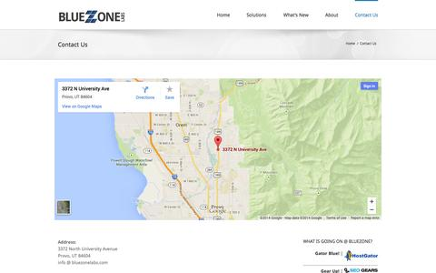 Screenshot of Contact Page bluezonelabs.com - Blue Zone Labs   –  Contact Us - captured Sept. 30, 2014