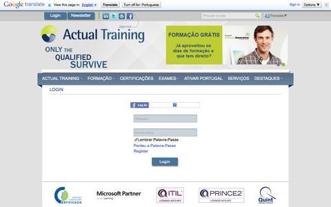 Screenshot of Login Page actualtraining.pt - Login - Actual Training - captured Sept. 30, 2014