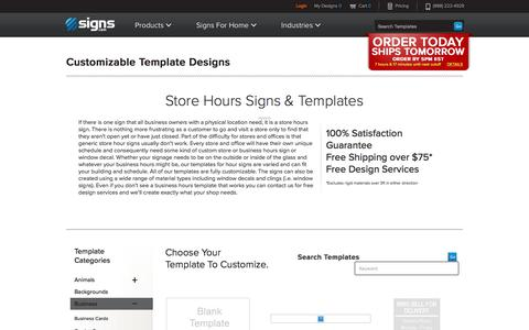 Screenshot of Hours Page signs.com - Store Hours Signs & Templates | Signs.com - captured Aug. 26, 2016