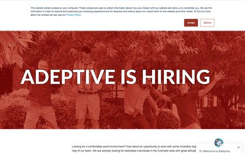 Screenshot of Jobs Page adeptivesw.com - Adeptive is Hiring - Adeptive Software - captured Sept. 24, 2018