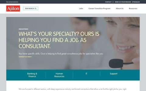 Screenshot of Support Page ajilon.lu - Jobs in your area in Luxembourg in HR, Finance or IT - captured July 10, 2018