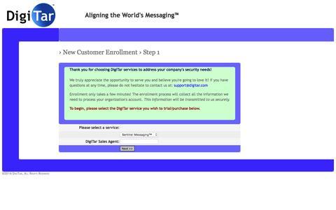 Screenshot of Trial Page digitar.com - DigiTar › New Customer Enrollment - captured Feb. 9, 2016
