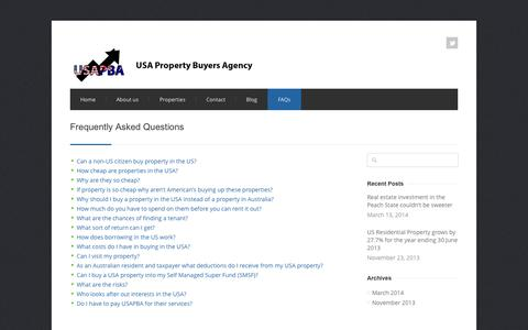 Screenshot of FAQ Page usapba.net - USA Property Buyers Agency: Frequently Asked Questions - captured Oct. 6, 2014