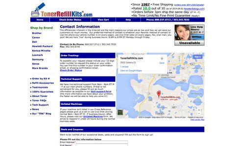 Screenshot of Contact Page tonerrefillkits.com - Contact TonerRefillKits.com - captured Sept. 24, 2014