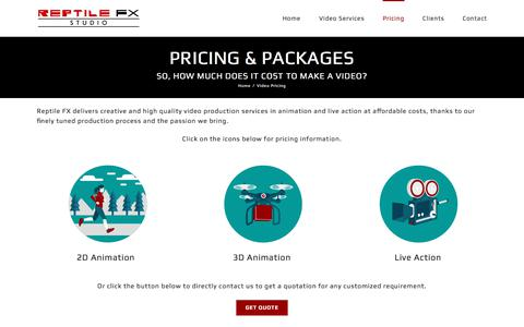 Screenshot of Pricing Page reptilefx.com - Video Pricing - Reptile FX Studio | USA | India - captured Nov. 9, 2017