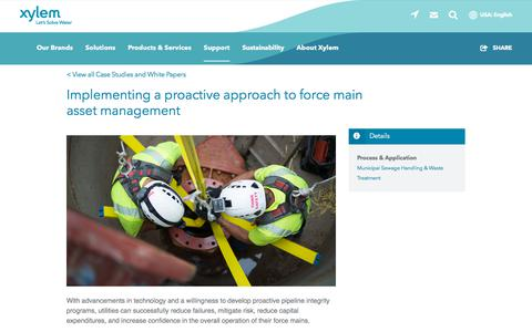 Screenshot of Case Studies Page xylem.com - Implementing a proactive approach to force main asset management   Xylem US - captured Nov. 9, 2019