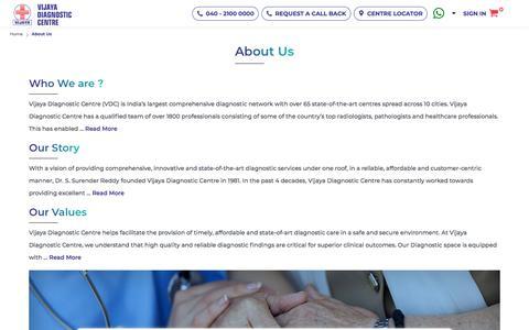 Screenshot of About Page vijayadiagnostic.com - AboutUs || Vijaya Diagnostic Centre - captured Oct. 2, 2019