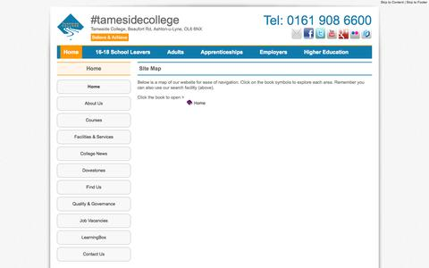 Screenshot of Site Map Page tameside.ac.uk - Tameside College : Site Map - captured Oct. 27, 2014
