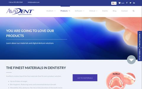 Screenshot of Products Page avadent.com - Products - AvaDent Digital Dentures - captured Jan. 29, 2016