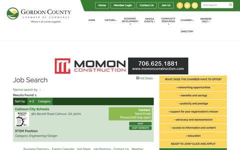 Screenshot of Jobs Page gordoncountychamber.com - Job Search - Gordon County Chamber of Commerce,GA - captured April 28, 2017