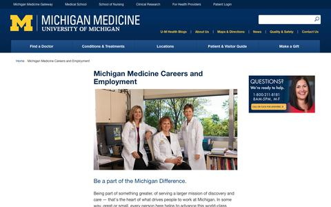 Screenshot of Jobs Page uofmhealth.org - Michigan Medicine Careers and Employment | Michigan Medicine - captured March 16, 2018