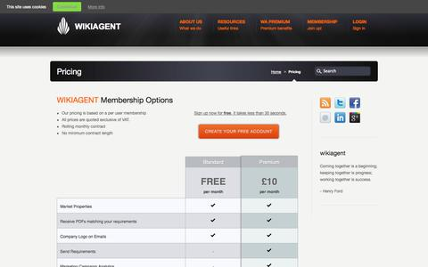 Screenshot of Pricing Page wikiagent.com - Pricing «  WikiAgent - captured Oct. 26, 2014