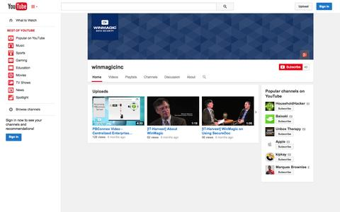 Screenshot of YouTube Page youtube.com - winmagicinc  - YouTube - captured Oct. 26, 2014