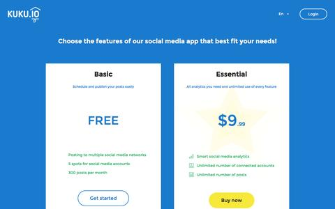 Screenshot of Pricing Page kuku.io - KUKU.io - Social media management - captured Jan. 26, 2016