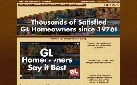 Screenshot of Testimonials Page glhomes.com - GLHOMES - Testimonials - captured Sept. 19, 2014