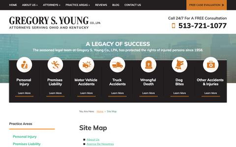 Screenshot of Site Map Page younginjurylaw.com - Site Map | Gregory S. Young Co., LPA | Cincinnati - captured Sept. 30, 2018