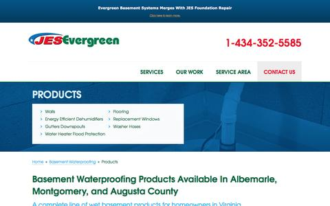 Screenshot of Products Page evergreenbasement.com - Basement Waterproofing Products by Virginia Contractors | Wet Basement Products in Roanoke, Lynchburg, Harrisonburg - captured Sept. 25, 2016