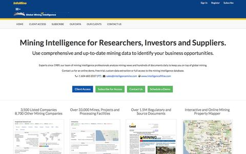 Screenshot of About Page infomine.com - Global Mining Market Intelligence - IntelligenceMine - captured June 28, 2016