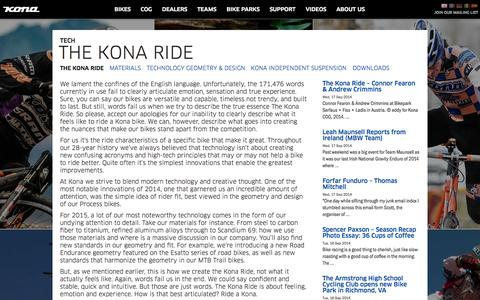 Screenshot of Support Page konaworld.com - KONA BIKES | TECH | THE KONA RIDE - captured Sept. 18, 2014