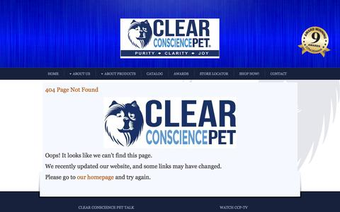 Screenshot of Testimonials Page 404 Page clearconsciencepet.com - 404 Page Not Found - captured Oct. 2, 2014