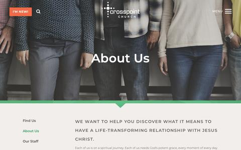 Screenshot of About Page thecrosspointchurch.ca - Crosspoint Church: Edmonton, Alberta, CA > About Us - captured Sept. 30, 2018