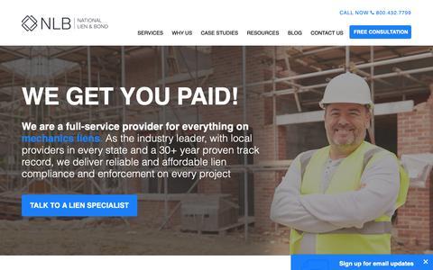 Screenshot of Home Page mechanicslien.com - Mechanics Lien Law Specialists | National Lien & Bond - captured Oct. 18, 2018