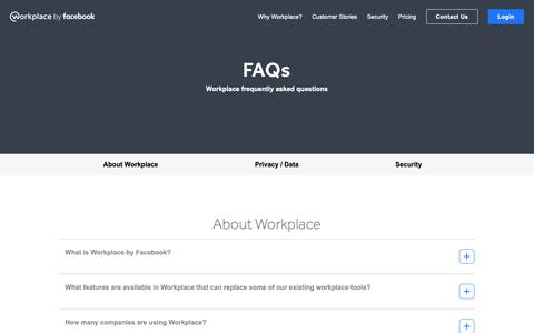 Screenshot of FAQ Page workplace.com - Frequently Asked Questions about Workplace | Workplace by Facebook - captured Dec. 7, 2018