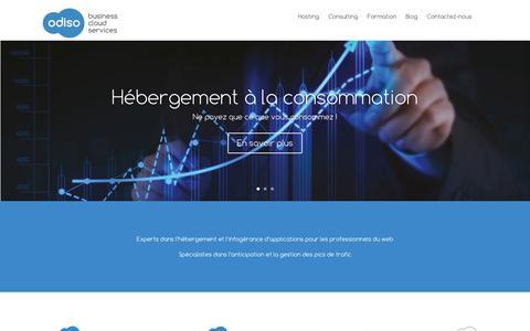Screenshot of Home Page odiso.com - Odiso, cloud business services - hébergeur haute-disponibilité - captured Sept. 30, 2014