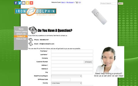 Screenshot of Contact Page irondolphin.com - Irondolphin Promotional Items - Contact Us - captured Nov. 20, 2016